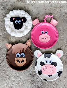 Paper Plate Farm Animals - The Keeper of the Cheerios Farm Animals Preschool, Farm Animal Crafts, Farm Crafts, Animal Crafts For Kids, Daycare Crafts, Craft Activities For Kids, Preschool Crafts, Art For Kids, Dinosaur Crafts