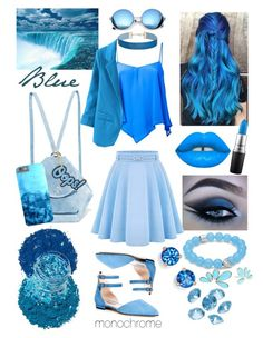 """Niagara Blue - Monochrome"" by allyssister ❤ liked on Polyvore featuring SJP, Roberto Collina, Illamasqua, Lime Crime, In Your Dreams, MANU Atelier, WithChic, MAC Cosmetics, Revo and Anya Hindmarch"