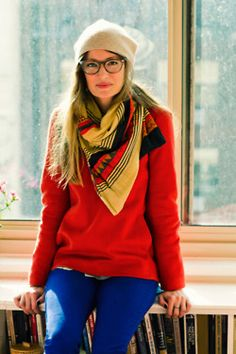 scarf, red, glasses & a beanie.