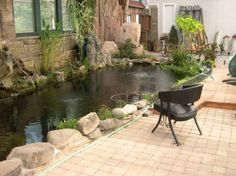 Decoration Indoor Koi Pond Greenhouse Pond With Stone Wall y Black Cpelo…