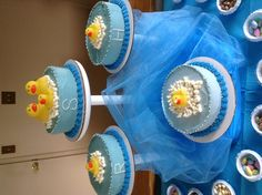 Baby shower cakes for boys. Love the idea of different cakes and different flavors!