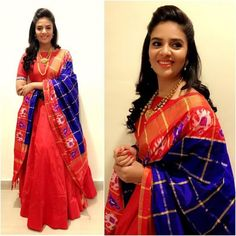 Ready Made Dresses Red Color Long South Indian Gown with Heavy Banarasi Dupatta Half Saree Lehenga, Anarkali Dress, Sarees, Anarkali Suits, Half Saree Designs, Lehenga Designs, Blouse Designs, Salwar Designs, Nice Dresses