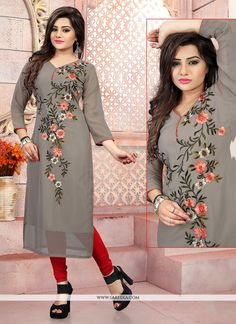 Be an angel and create and establish a smashing impact on anyone by wearing this grey georgette party wear kurti. The pretty embroidered work a substantial feature of this attire. (Slight variation in. Hand Embroidery Dress, Kurti Embroidery Design, Embroidery Fashion, Party Wear Kurtis, Kurti Designs Party Wear, Embroidered Kurti, Embroidered Clothes, Kurta Designs Women, Blouse Designs