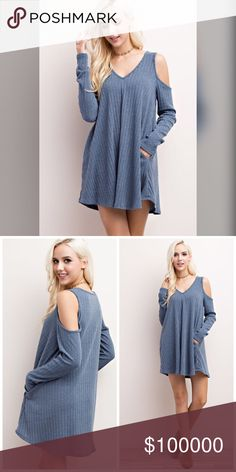 Beautiful blue ribbed tunic/dress with pockets! V neck - cold shoulder ribbed tunic/dress with hidden side pockets- beautiful! Dresses