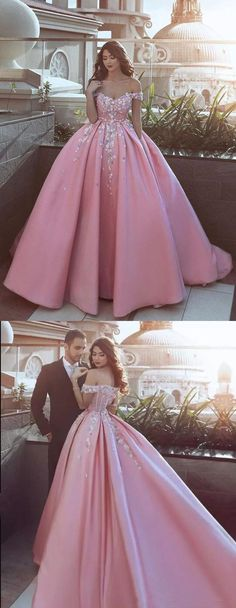 Pink Prom Dress,Off Shoulder Applique Prom Dress,Flowers Long Prom Dress,Pink Satin Formal Dress,2018 Bridal Gowns