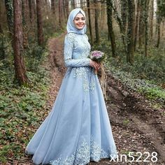 Nice 2018 Arabic Muslim Sky Blue Wedding Dress Long Sleeve Bridal Gown With Hijab 2017-2018