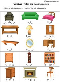 Furniture Fill In worksheets