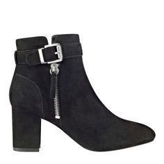Suede midi bootie with exposed zipper detail, covered block heel and adjustable buckle.