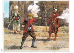 Janissaries training: 1: Acemi Oğlan Janissary trainee, early XVI c.; 2: İç Oğlan Çavuşu NCO of new Janissary recruits, XVII c.; 3: Falakacı Başı - head of punishment unit, XVII-XVIII c.