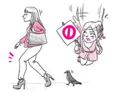 """Piegare le ginocchia sui tacchi ovvero la camminata del piccione: no no no.     """"Tacco 12"""" un libro di Veronica Benini con le illustrazioni di Sara Menetti. Sperling & Kupfer."""