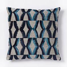 Jacquard Velvet Zip Pillow Cover - Nightshade #westelm Pillow for sofa  ~ Great pin! For Oahu architectural design visit http://ownerbuiltdesign.com