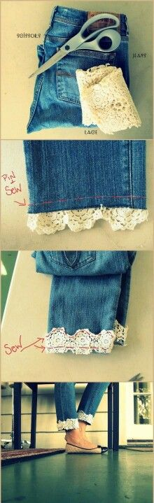 Lace trim-I did this to my jean vest collar and it looked amazing