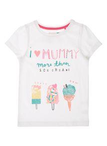Girls White I Love Mummy T-Shirt (9 months-5 years)