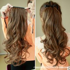 Buy womens fashion Long Curly hair wigs Girls Big Wavy Ponytail Wigs Pony Hair Hairpiece Extension Black/Dark/Light Brown at Cute - Beauty Shopping Wavy Ponytail, Ponytail Hairstyles, Synthetic Hair Extensions, Clip In Hair Extensions, Long Curly Hair, Curly Hair Styles, Caring For Colored Hair, Drawstring Ponytail, Pony Tails