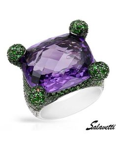 Puple & green my fav!   SALAVETTI Made In Italy Ladies Ring Designed In 18K White Gold at Modnique.com