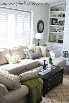 Client Living Room Makeover Reveal by Chic on a Shoestring Decorating blog