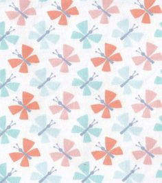 Snuggle Flannel Fabric-Pastel Butterflies