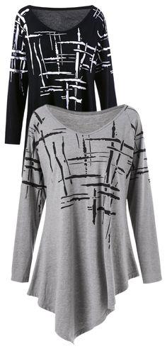 Splatter Paint Plus Size Asymmetric T-Shirt