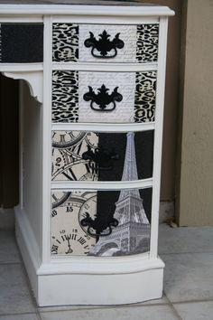 Desk, Decoupage, french provincial, leopard print, black & white, Tracey's Fancy