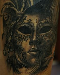venetian mask tattoo | deviantART: More Like my chibi geisha tattoo by ~Eszter-Ichigo