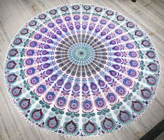 Indian Circle of Flowers Pink Round Roundie Mandala Peacock Tapestry beach throw #Handmade