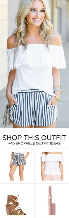 #summer #outfits  Hope Everyone Has Had A Wonderful Sunday  // White Off The Shoulder Top + Striped Short   // Shop This Outfit In The Link