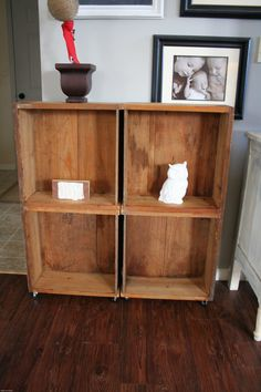 old drawers turned into rolling shelves
