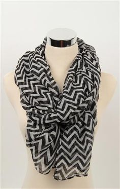 Deb Shops #Scarf with Black and White #Chevron Stripe Pattern  $9.99