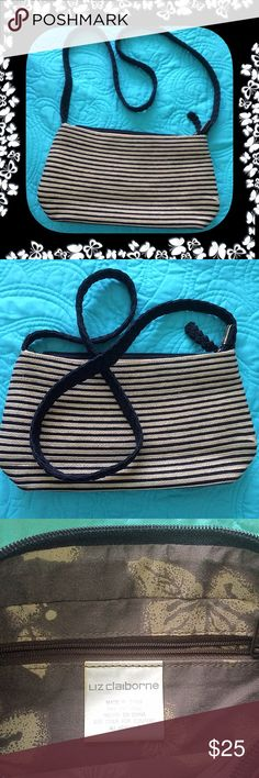 """Liz Claiborne Striped Handbag Liz Claiborne Striped Handbag - 11 1/2"""" x 6"""" - Braided Strap - 20"""" drop - 3 compartments - Middle compartment zips w/ a zipped pocket inside - Floral print interior.  Excellent preloved condition!  Please feel free to make an offer - Enjoy BIG discounts on bundles & save $$$ on shipping! I do not comment to my buyers after their purchases for privacy reasons - If you would like to know that I received your order ask on the listing & I will respond.  I ship fast…"""
