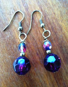 Purple and Crystal Earring by TripIntoLight on Etsy, $10.00