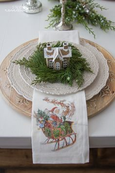 Santa napkins and tiny houses. Pottery Barn Christmas, Christmas Tabletop, Christmas Table Settings, Christmas Tablescapes, Farmhouse Christmas Decor, Primitive Christmas, Outdoor Christmas, Christmas Tree Decorations, Primitive Crafts