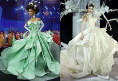 Miss Chicago 2007 hace otra creación inspirada en origami de la Colección Primavera / Verano 07 de Dior, esta vez en verde menta. Shalom Harlow lleva el vestido original de la nata