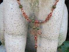 I created this copper byzantine and Unakite bead necklace which recently sold. Byzantine, Beaded Necklace, Copper, Fancy, Beads, Metal, Jewelry, Art, Beaded Collar