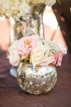 mercury glass, romantic wedding, pink wedding, Charlotte wedding planner    www.hallandwebb.com