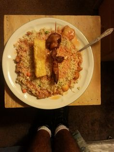 Sweet & Sour Chicken with Brown Rice & Vegetables, An Egg Roll & An Chicken On An Stick. #SweetandSourChicken #EggRoll #ChickenOnAnStick