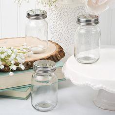 Perfectly Plain Glass Mason Jar with Silver Metal Screw Top