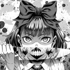 Dark Anime Girl, Anime Art Girl, Manga Gore, Character Art, Character Design, Japanese Horror, Art Simple, M Anime, Merian
