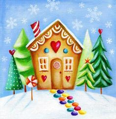 Ileana Oakley - gingerbread house christmas NEW. Painting For Kids, Drawing For Kids, Art For Kids, Rock Painting, Gingerbread Village, Christmas Gingerbread House, Christmas Drawing, Christmas Paintings, Christmas Artwork