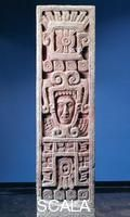 Pre-Columbian art Mexico - Pre-Columbian Toltec civilization. Painted stone stele of the birth of Quetzalcoatl. From Xochicalco.