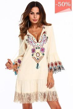 d81638c7501 Chicloth Long Sleeve A-line Dress Floral Embroidery V-Neckline Embroidery  Dress, Floral