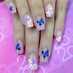 Nail extensions design with flowers and butterflies :: one1lady.com :: #nail #nails #nailart #manicure