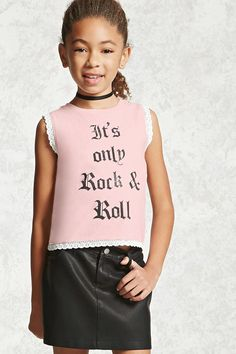 "Forever 21 Girls - A knit graphic tank top featuring an ""It's Only Rock & Roll"" front graphic, crochet lace trim, and a round neckline."