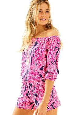 Two of our favorite things are combined in this printed piece: off the shoulder tops and rompers. The Lana Romper is one of our favorite day-to-night pieces. It can be worn during the day with sandals, but it can also be worn out at night with wedges and your favorite gold accessories.