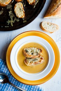 Winter Squash Soup With Gruyere Croutons by shoottocook #Soup #Squash