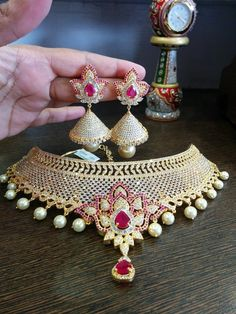One Gram Gold Choker Necklace Designs, 1 Gram Gold Choker Necklace Sets, One Gram Jewellery Designs, 1 Gram Gold Necklace with Jhumka Indian Wedding Jewelry, Bridal Jewelry, Gold Jewelry, Jewelry Sets, Jewellery Box, Jewellery Making, Jewelry Stores, Pagoda Jewelry, Jewellery Earrings