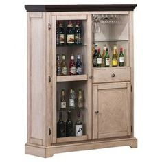 """Wine storage cabinet with open display shelves and a stemware holder.  Product: Wine cabinetConstruction Material: WoodColor: Antique white and merlotFeatures: Open shelves and stemware holderDimensions: 57.75"""" H x 42"""" W x 15.75"""" D"""