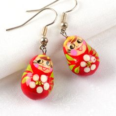 Red Matryoshka Doll Earrings $5.99