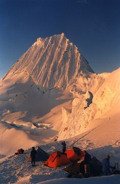 High camp at the base of Nevado Alpamayo, considered one of the most beautiful mountains in the world, in Cordillera Blanca, Peru (by mokelu. Bolivia, Beautiful World, Beautiful Places, Amazing Places, Places Around The World, Around The Worlds, Ecuador, Chile, South America Travel