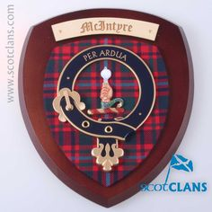 MacIntyre Clan Crest Wall Plaque. Free Worldwide Shipping Available