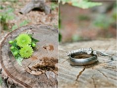 green mum and hypericum berry boutonniere, wedding rings in nature shot, rustic campground wedding, Alexandra Whitney Photography, Danielle Pasternak Wedding Coordinator